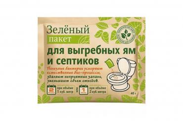 Зеленый пакет для выгребных ям и септиков (вес 40 гр.)   111